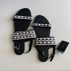NEW - Black and white sandals 10